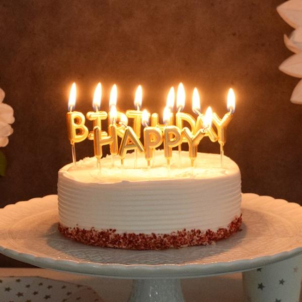 생일캔들 HAPPY BIRTHDAY 메탈릭골드