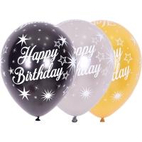 [셈퍼텍스] 30cm All over happy birthday sparkles 3색혼합 [50입]