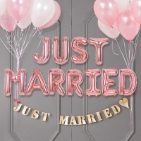 은박풍선세트 JUST MARRIED 로즈골드