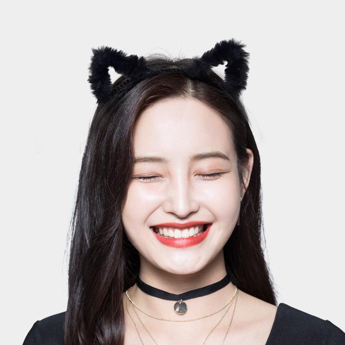 보송이 고양이머리띠 아웃라인 블랙