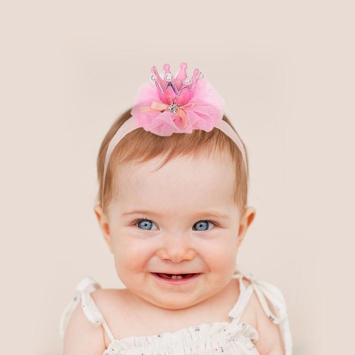 레이스 헤어밴드 왕관 핑크
