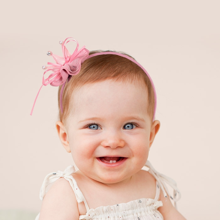 미니 큐빅왕관 머리띠 핑크