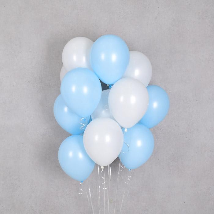 헬륨풍선 베이비블루앤 화이트 10개묶음