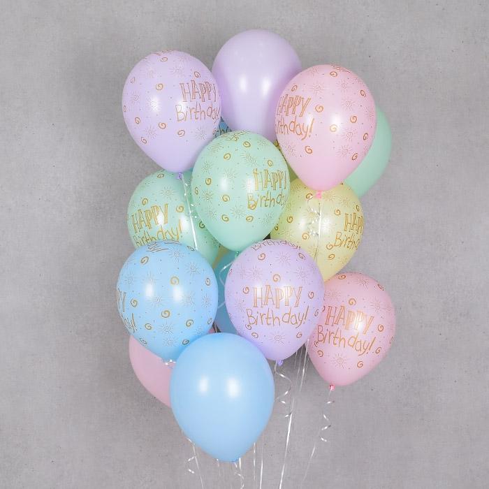 헬륨풍선 생일파스텔메이트 혼합 10개묶음 [차량배달] 온라인한정