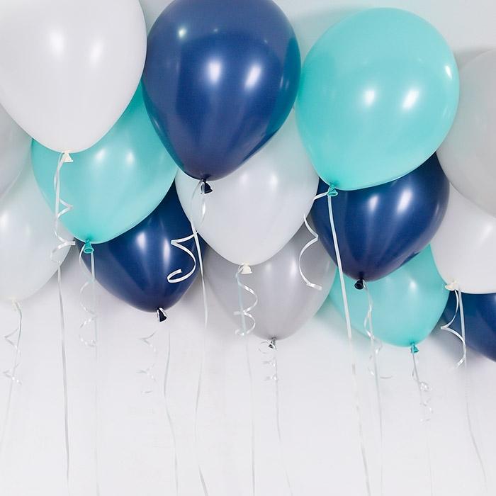 천장풍선세트 민트네이비 4색혼합 (풍선20개+컬링리본+스폰지닷) 온라인한정