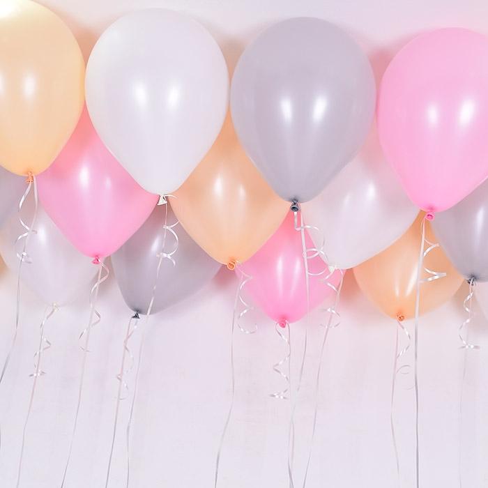 천장풍선세트 피치핑크 4색혼합 (풍선20개+컬링리본+스폰지닷) 온라인한정