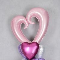은박풍선 하트프레임 대 핑크