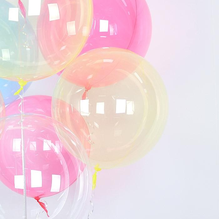 헬륨 칼라버블벌룬 18인치 옐로우