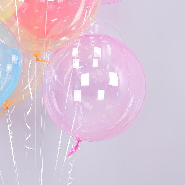 헬륨 칼라버블벌룬 18인치 핑크