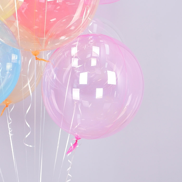헬륨 칼라버블벌룬 18인치 핑크 [차량배달] 온라인한정
