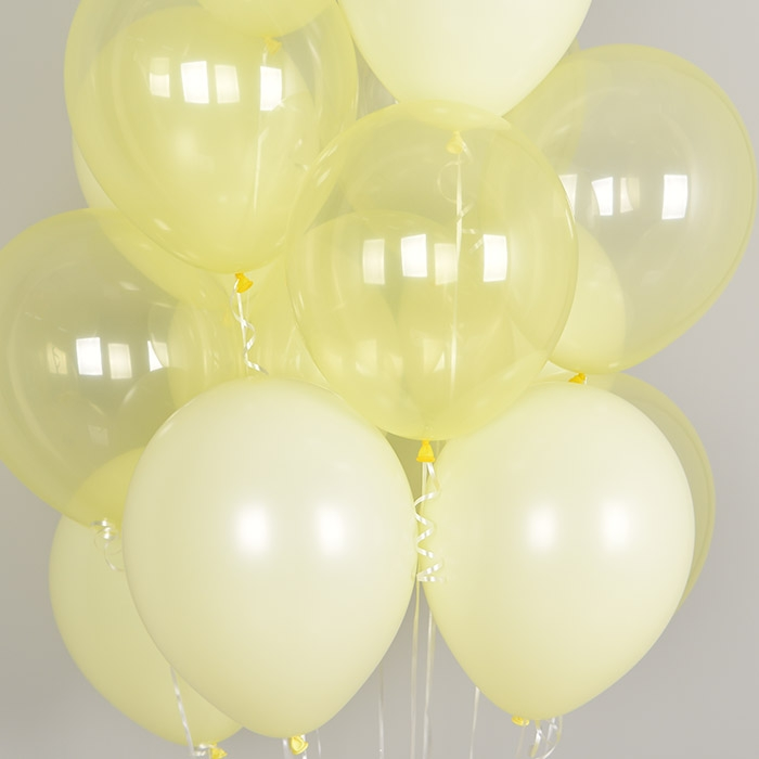 천장풍선세트 크리스탈 파스텔 메이트 옐로우톤 (풍선20개+컬링리본+스폰지닷) 온라인한정