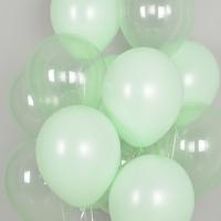 천장풍선세트 크리스탈 파스텔 메이트 그린톤 (풍선20개+컬링리본+스폰지닷) 온라인한정