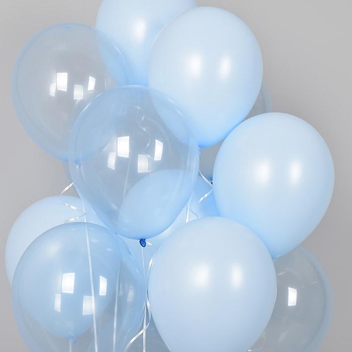 천장풍선세트 크리스탈 파스텔 메이트 블루톤 (풍선20개+컬링리본+스폰지닷) 온라인한정