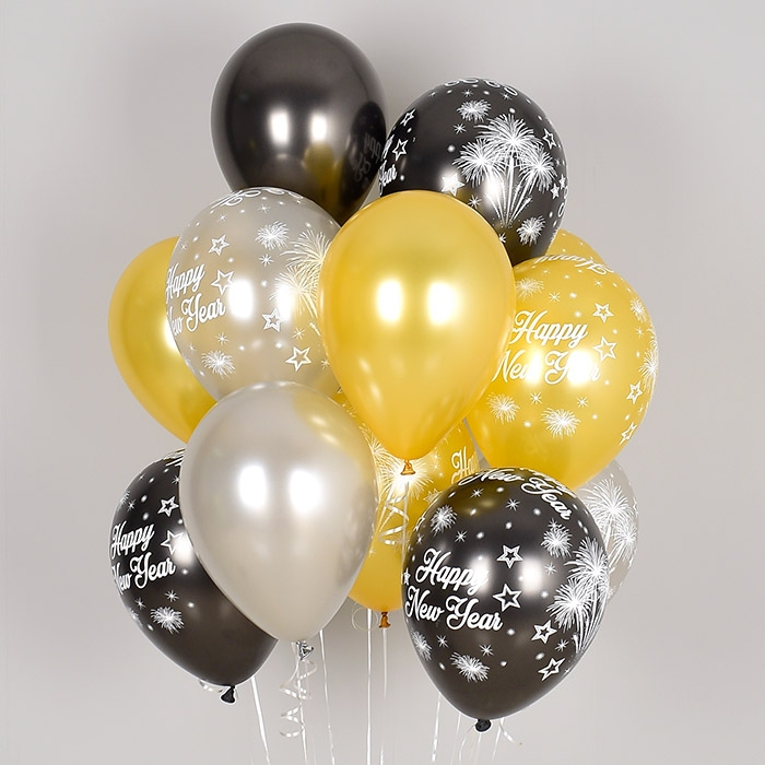 헬륨풍선 해피뉴이어 3색혼합 10개묶음 [차량배달] 온라인한정