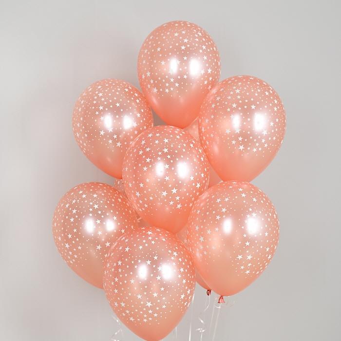 헬륨풍선 별무늬 펄로즈골드 10개묶음
