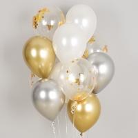 컨페티 헬륨풍선 골드스타앤 크롬벌룬 혼합 10개묶음 [차량배달] 온라인한정