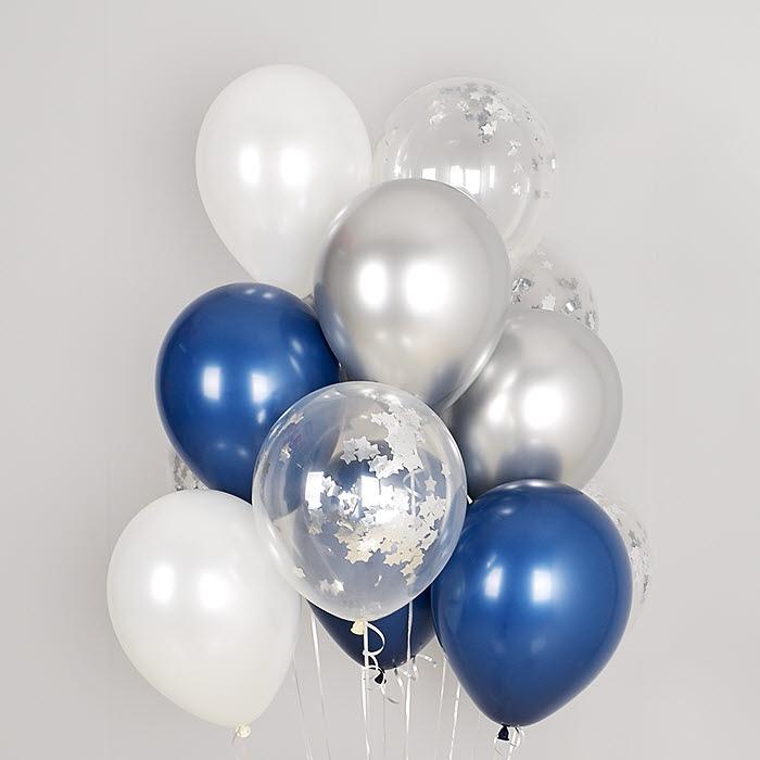 컨페티 헬륨풍선 실버스타앤 리플렉스 혼합 10개묶음 [차량배달] 온라인한정