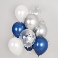 컨페티 헬륨풍선 실버스타앤 리플렉스 혼합 10개묶음
