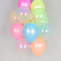 헬륨풍선 칼라컨페티 투명 네온혼합 10개묶음 [차량배달] 온라인한정