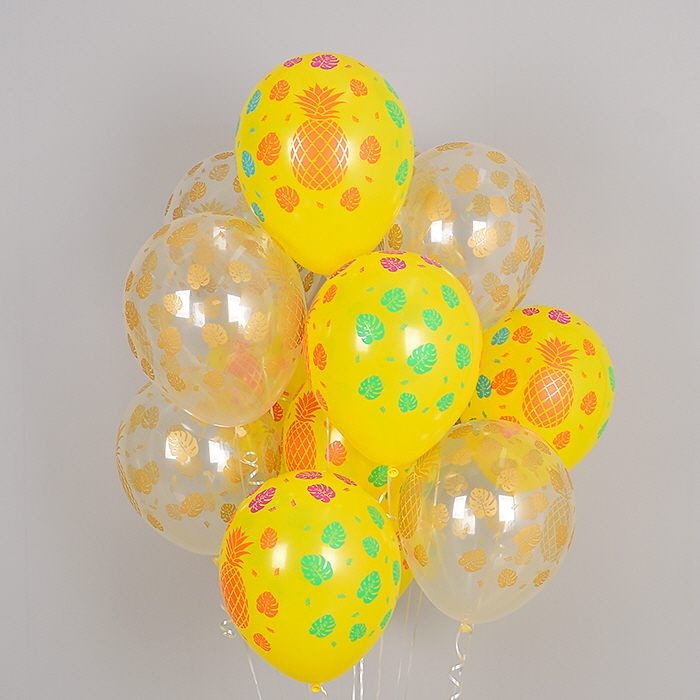 헬륨풍선 트로피칼 파인애플 투명앤 옐로우 10개묶음