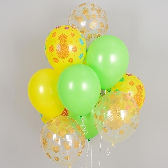 헬륨풍선 트로피칼 파인애플 혼합 10개묶음