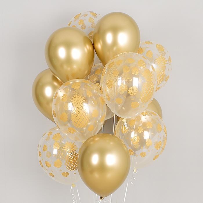 헬륨풍선 트로피칼 파인애플 투명혼합 10개묶음