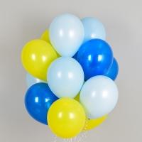 헬륨풍선 옐로우앤 블루 3색혼합 10개묶음