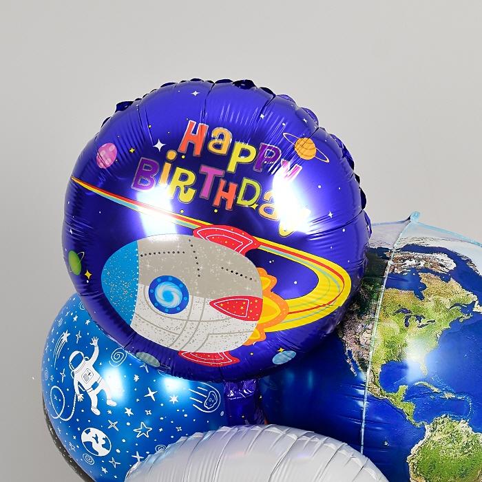 생일은박풍선 라운드 18인치 우주선