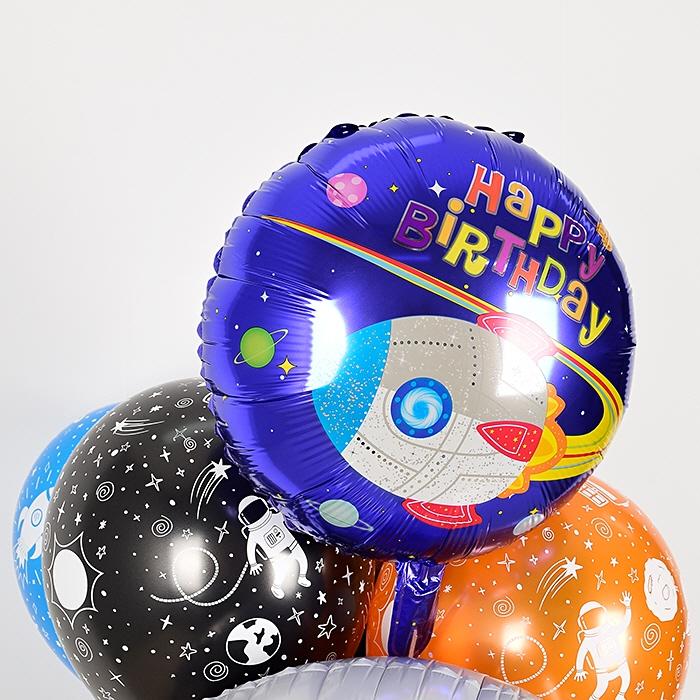 생일은박헬륨풍선 라운드 18인치 우주선 [차량배달] 온라인한정