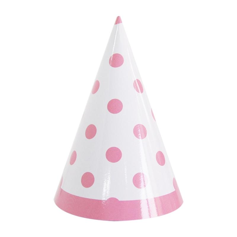 파티고깔 라인도트 핑크 6입