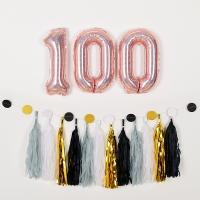 숫자은박풍선세트 100 홀로그램 로즈골드