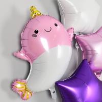 은박풍선 뿔달린 아기돌고래 핑크