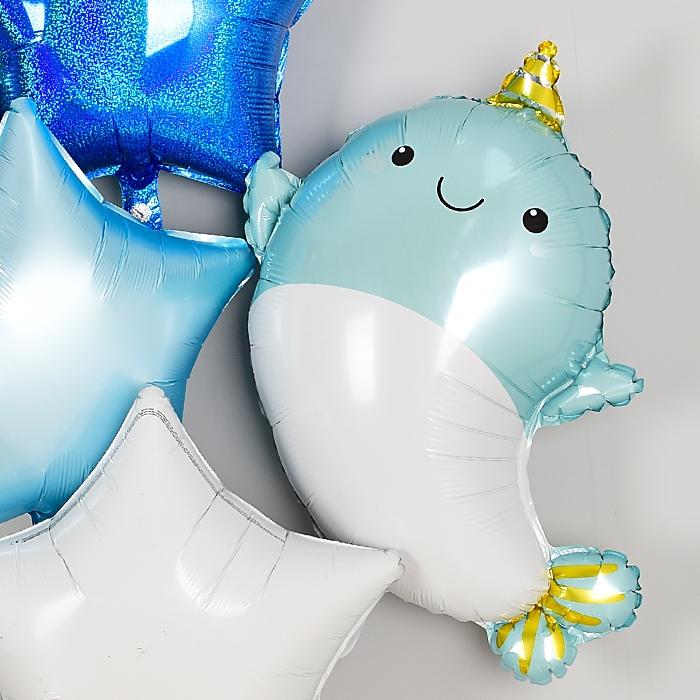 은박풍선 뿔달린 아기돌고래 블루