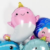 은박헬륨풍선 뿔달린 아기돌고래 핑크 [차량배달]