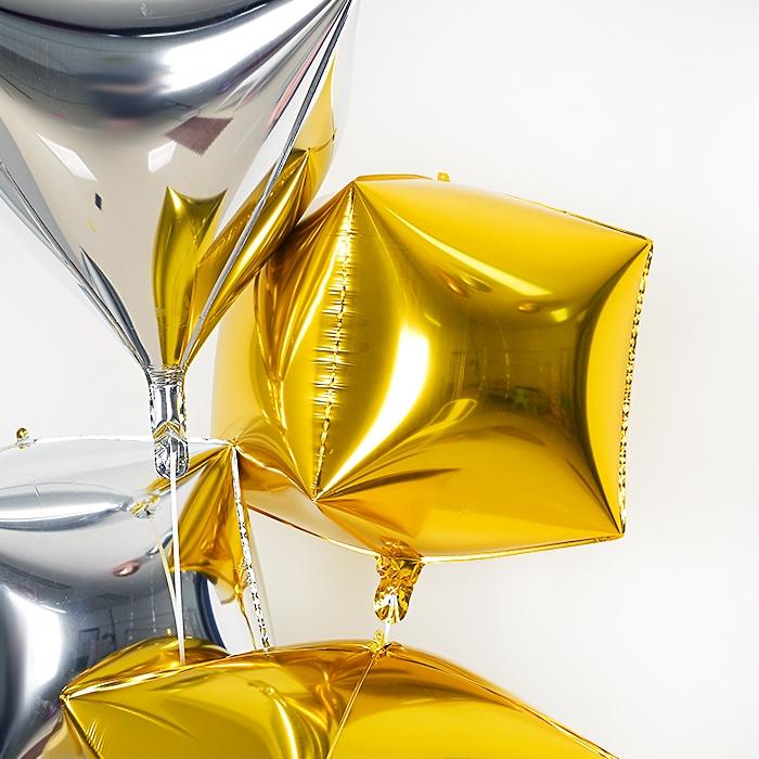 헬륨은박풍선 4D 사각 골드 [차량배달]