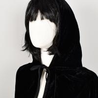 벨벳후드망토 여성용 블랙
