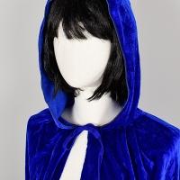 벨벳후드망토 여성용 블루