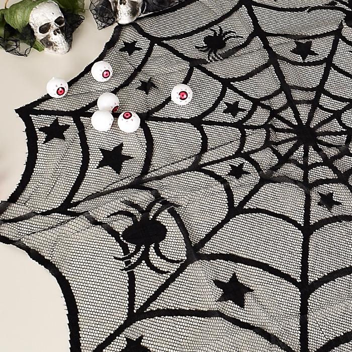 할로윈 테이블보 레이스 거미줄 원형 1m