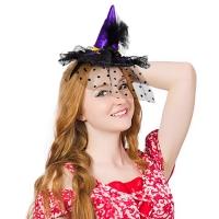 럭셔리마녀머리띠 망사깃털 퍼플