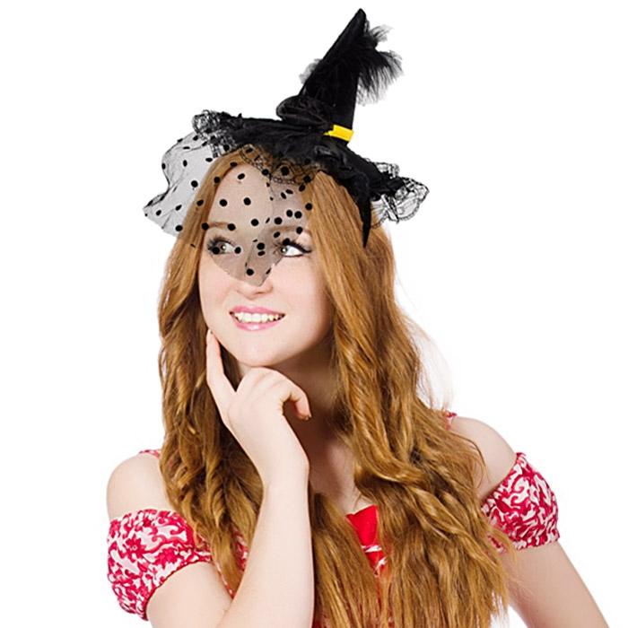 럭셔리마녀머리띠 망사깃털 블랙