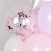 30cm 컨페티벌룬 은박 핑크 5입 [온라인한정할인]