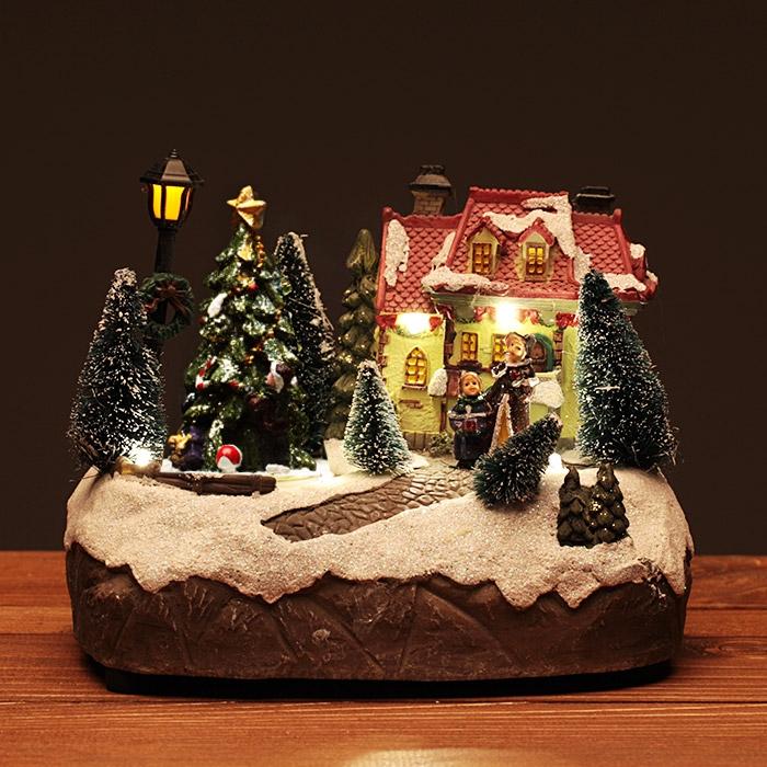 크리스마스 하우스 미니어쳐 [멜로디 점등]