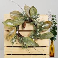 잎사귀 솔방울 리스 40cm