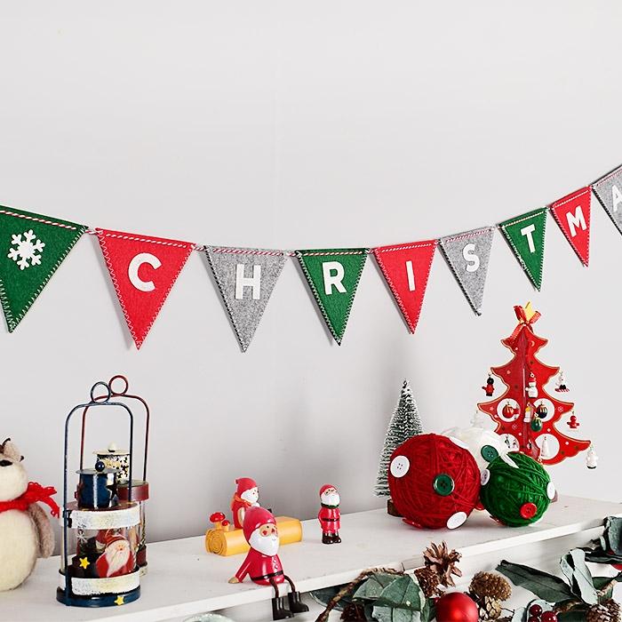 펠트 패턴 삼각가랜드 MERRY CHRISTMAS