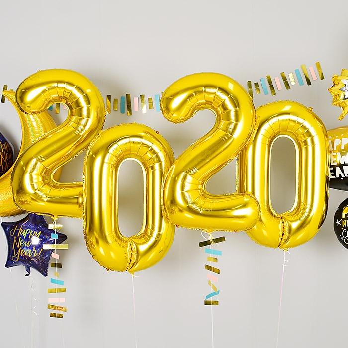 은박헬륨풍선 2020 대 골드 [차량배달]