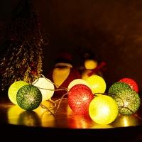 LED코튼볼라이트 20P 크리스마스 4색혼합