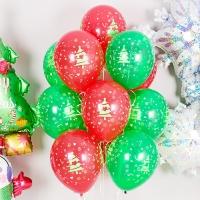 헬륨풍선 크리스마스 트리 레드앤 그린 10개묶음