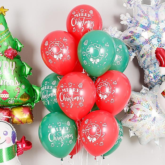 헬륨풍선 크리스마스 리스 레드앤 그린 10개묶음