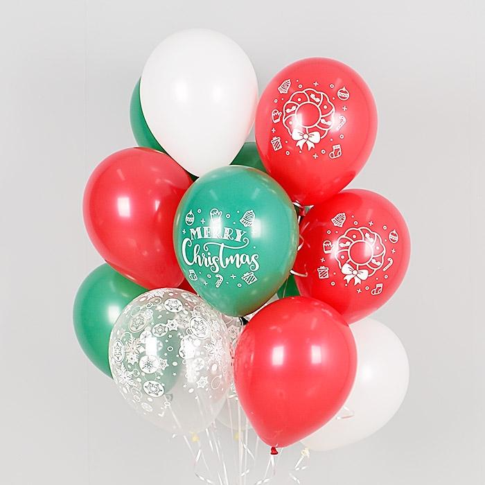 헬륨풍선 크리스마스 리스 레드앤그린 설정혼합 10개묶음