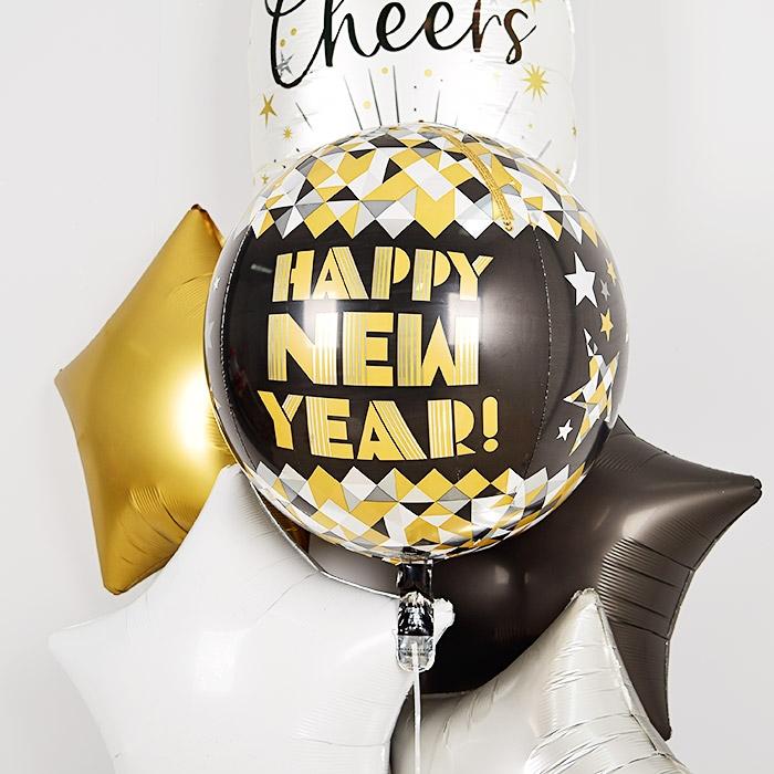 은박헬륨풍선 옹브레 40cm HAPPY NEW YEAR 블랙골드 [차량배달]